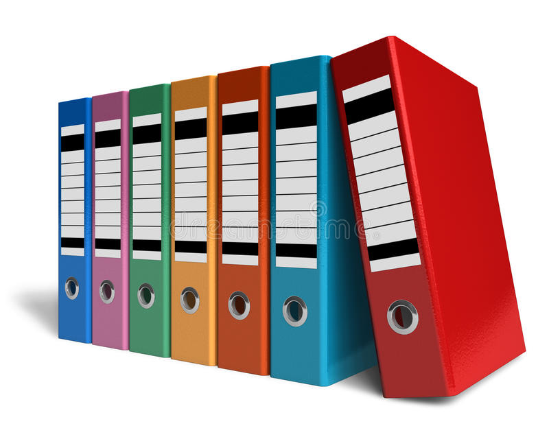 Row Of Color Office Folders Stock Photography