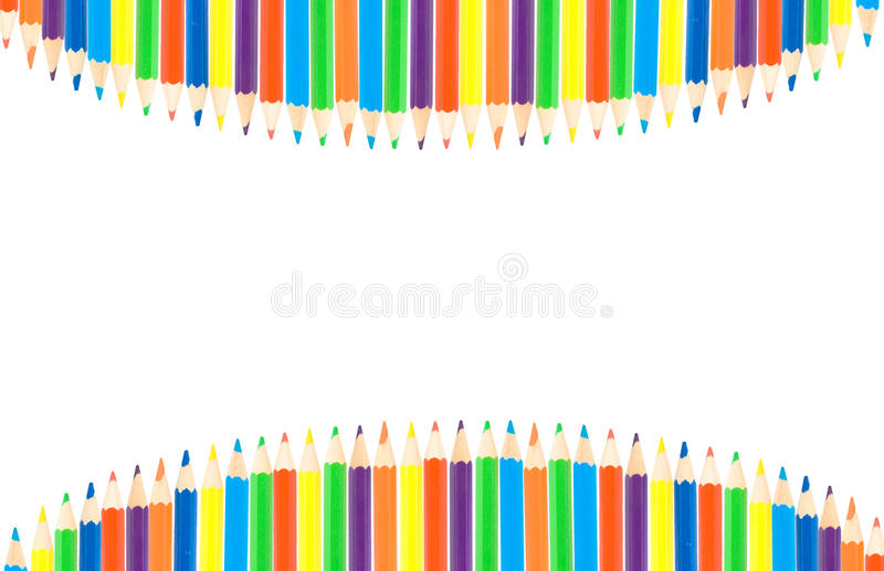 Row of color pencils stock images