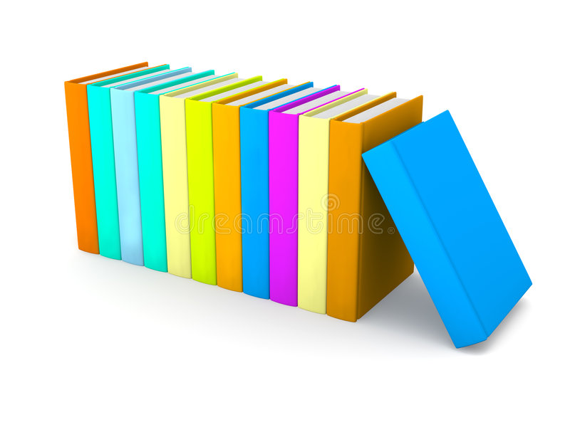 Row of colored Books stock illustration