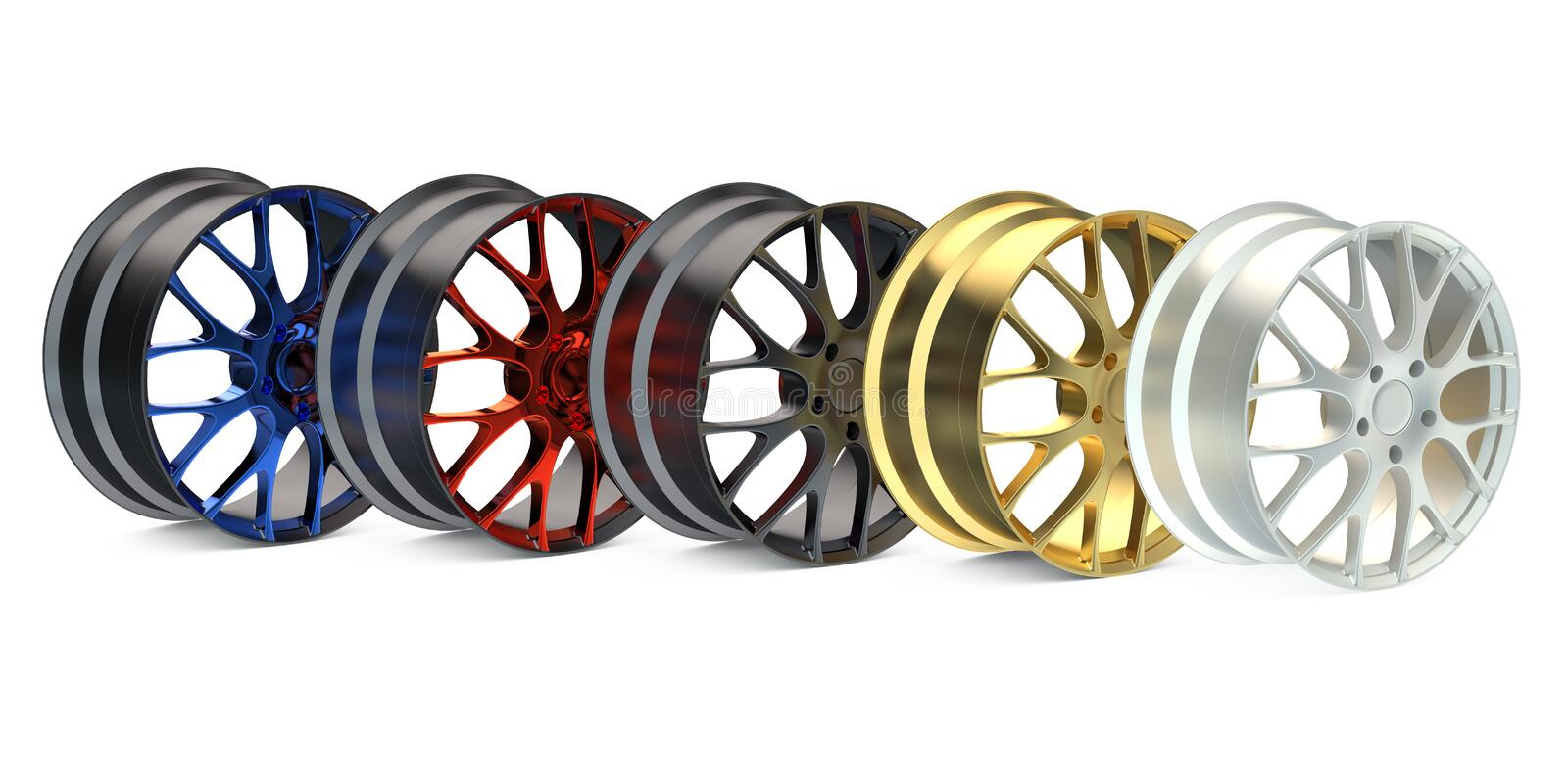 Row from colored car rims. Isolated on white background royalty free illustration