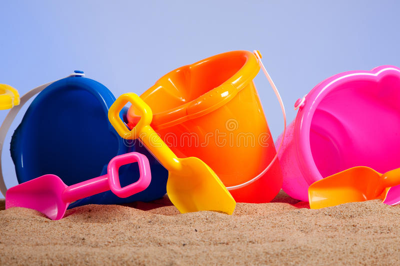 Download Row Of Colorful Beach Buckets Or Pails Stock Image - Image: 10601075