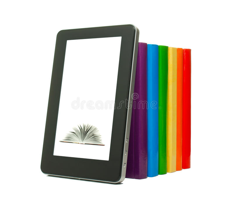 Download Row Of Colorful Books And Tablet PC Stock Photo - Image: 23791286