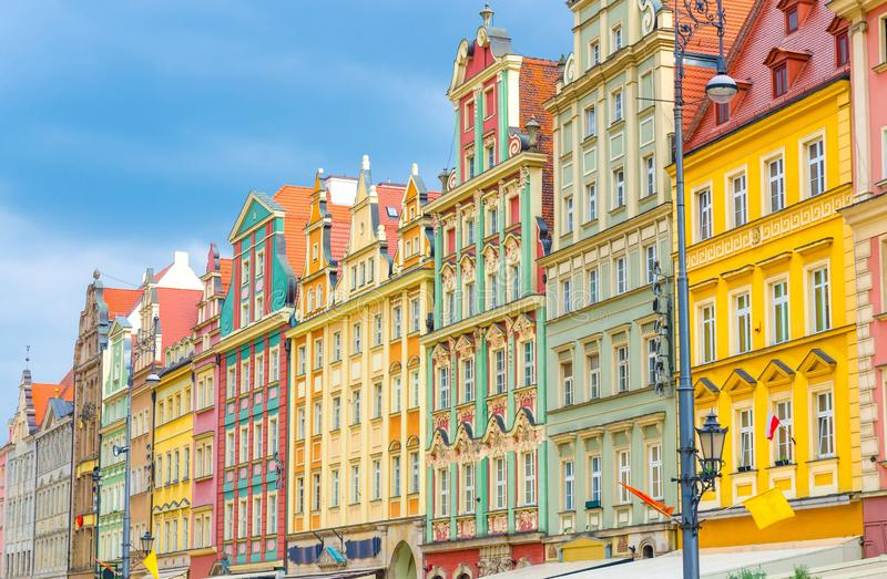 Rynek Market Square in old historical city centre of Wroclaw, Poland. Row of colorful buildings with multicolored traditional facades on Rynek Market Square in stock photo