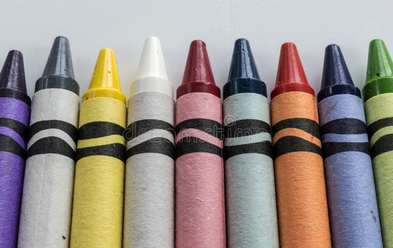 Colorful Crayons in a Row stock image