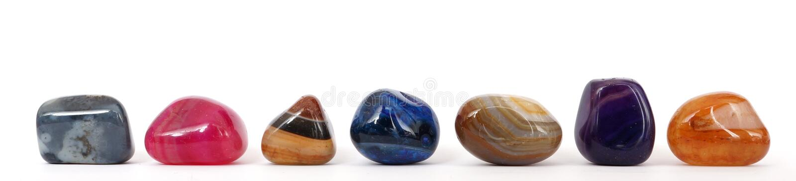 Row of colorful gemstones royalty free stock photography