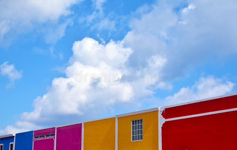 Row of colorful houses in Cozumel. Mexico stock image