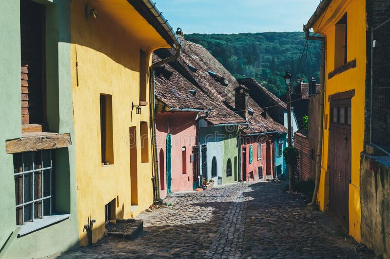 Row of colorful houses royalty free stock images