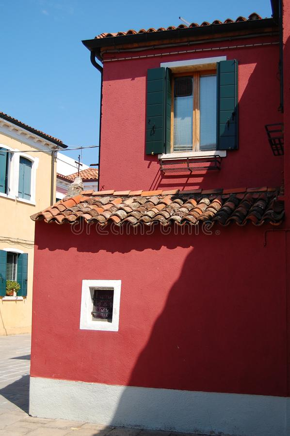 Row of colorful houses on the island of Burano. Off of Venice stock photography