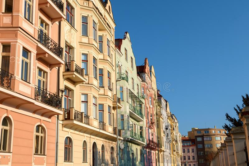 Row of colorful houses in Prague in morning light on sunny day, Czech republic. Row of colorful houses in Prague in morning light on sunny day, Czechia royalty free stock photo