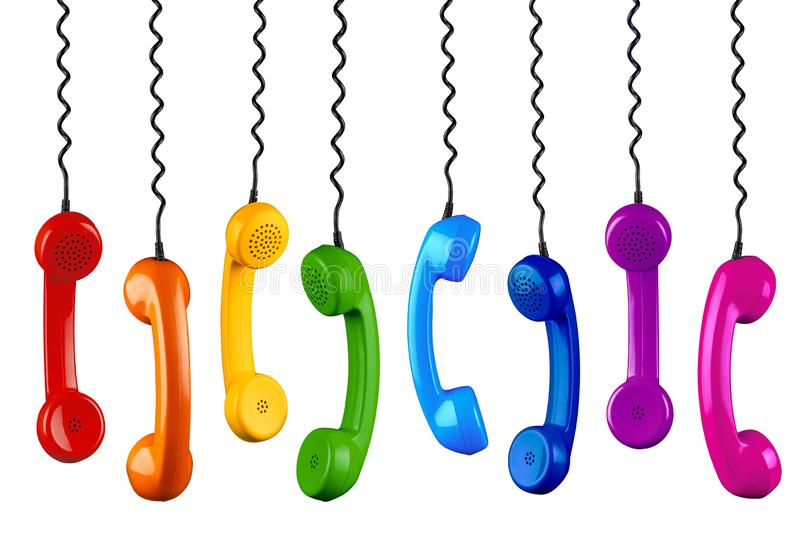 Row of colorful rainbow colored old fashioned retro phone reciever with black telephone wire isolated white background, business. Row of colorful rainbow colored stock photos