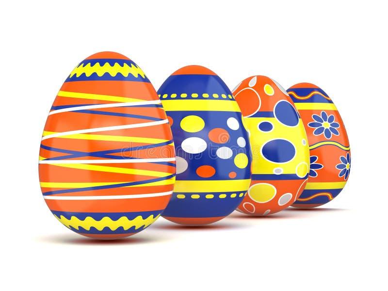 Row of colorful spring Easter eggs. 3D. Render illustration on white background stock illustration