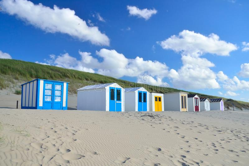 Beach sheds on the beach of Texel in Netherlands royalty free stock photos
