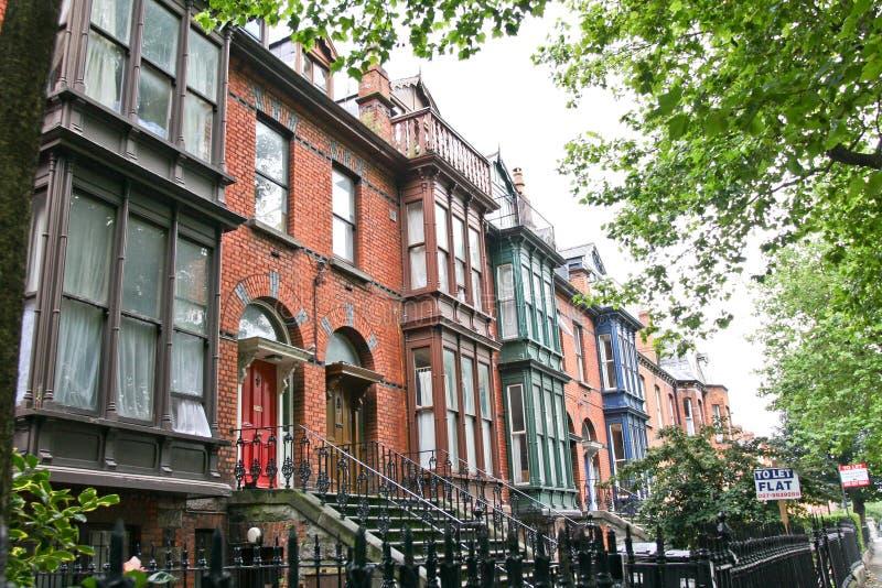Row of colourful brick houses, Dublin, Ireland. Traditional brick houses with oriel windows, Dublin, Ireland royalty free stock photo