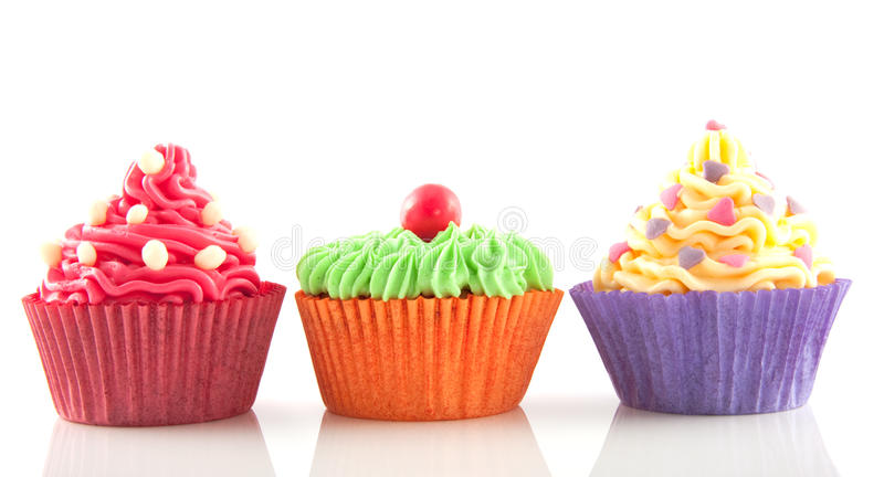 Row of cupcakes royalty free stock photography