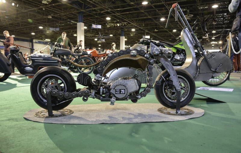 Row of custom motorcycles stock photography
