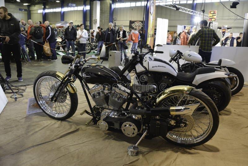 Row of custom motorcycles stock photos