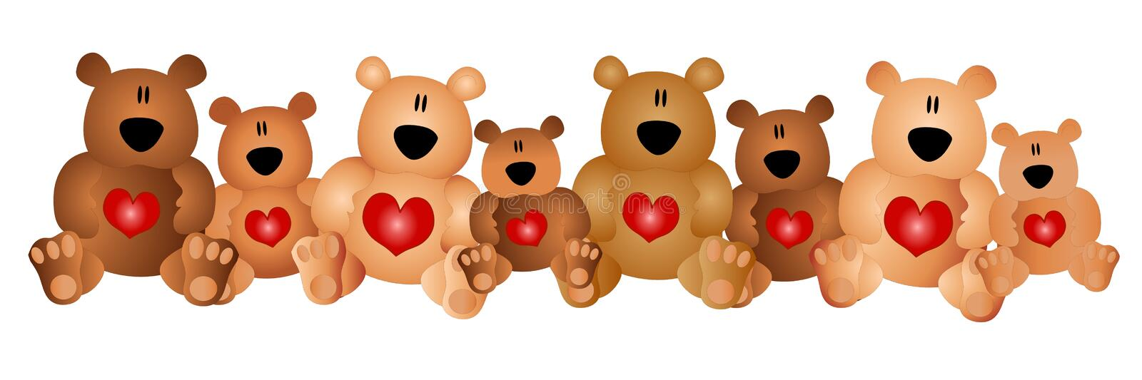 Row of Cute Teddy Bears With Hearts. A clip art illustration featuring a row of cute brown teddy bears with hearts on their bellies stock illustration