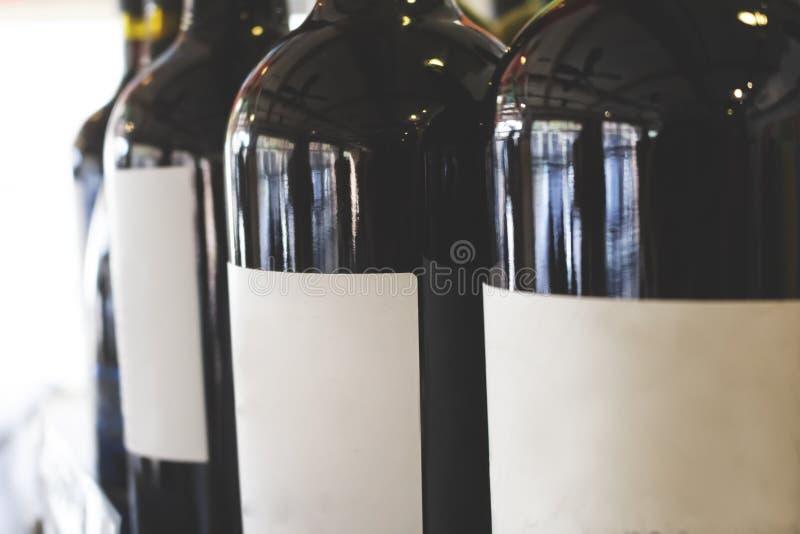 Blank label wine bottles stock image