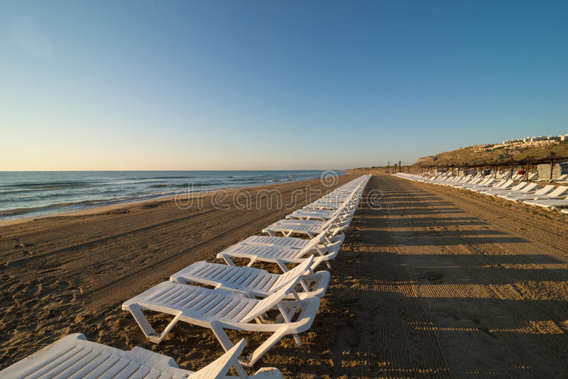 Row of deckchairs royalty free stock photo