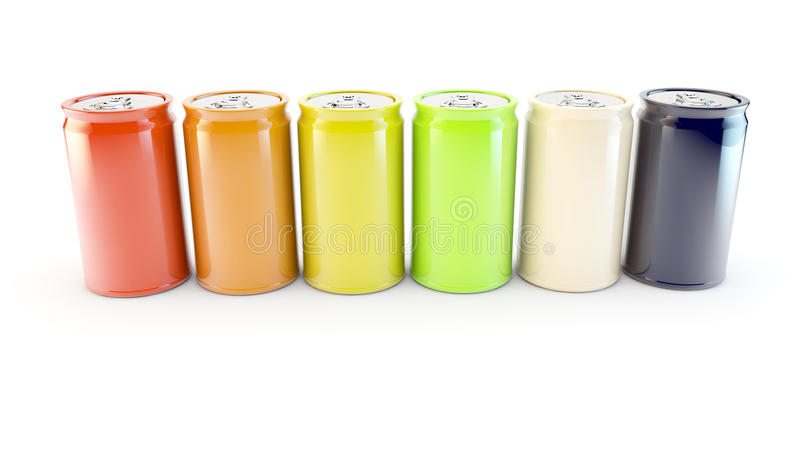 Row of different colours or flavours of fizzy soda drink. Coloured cans of drink in a row in a white background stock illustration