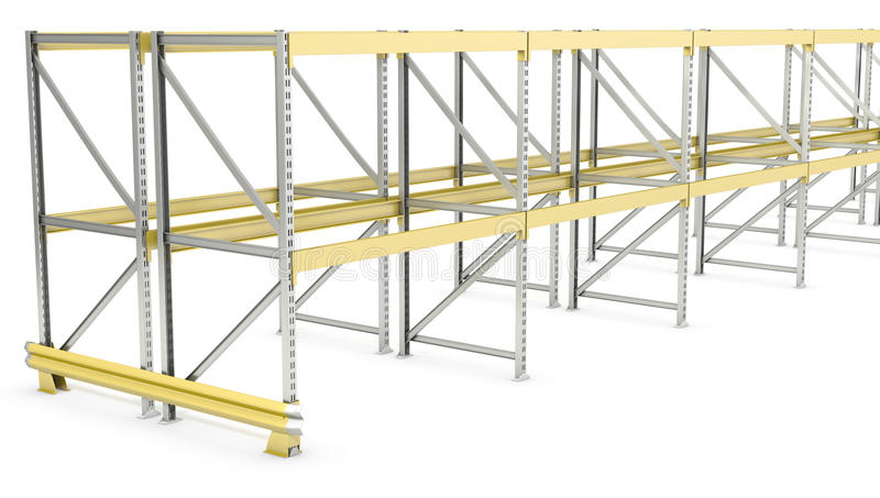 Row of double sided pallet racks stock illustration