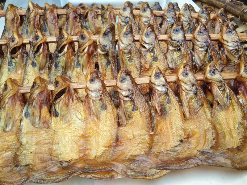 Dried and smoked soft meat fish skewers in local market for selling. Grilled fish for cooking sour and spicy Thai soup royalty free stock images