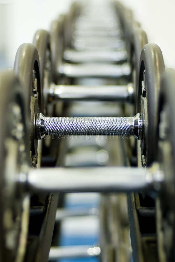 Row of Dumbbells 1 royalty free stock photography