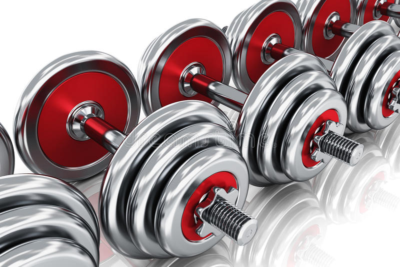 Row of dumbbells. Creative abstract sport, fitness training and healthy lifestyle concept: group of red shiny metal dumbbells arranged in row isolated on white royalty free illustration