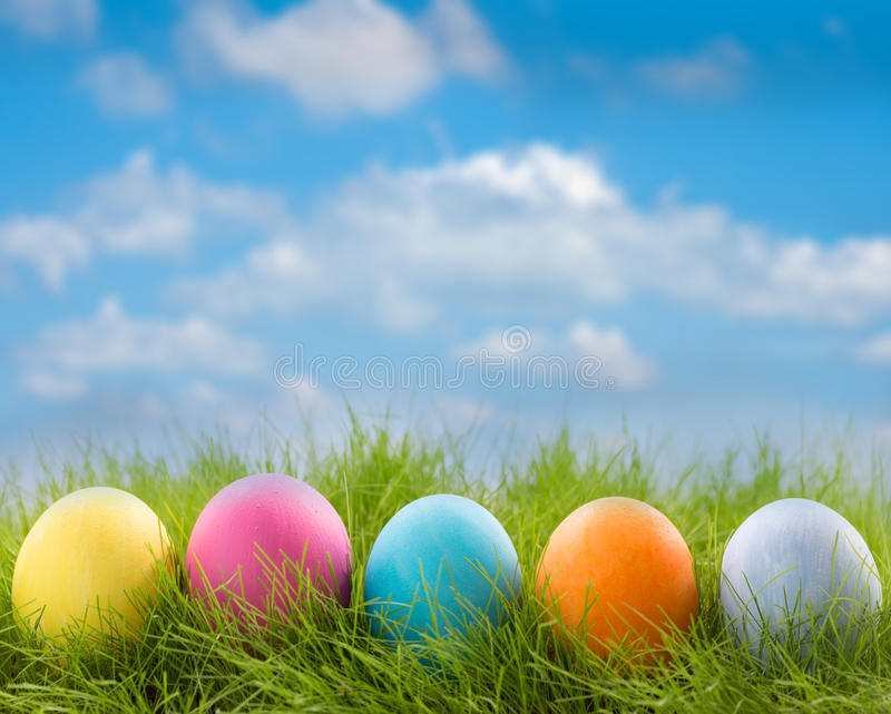 Row of easter eggs in grass. Row of decorated easter eggs in grass on blue sky background stock photo