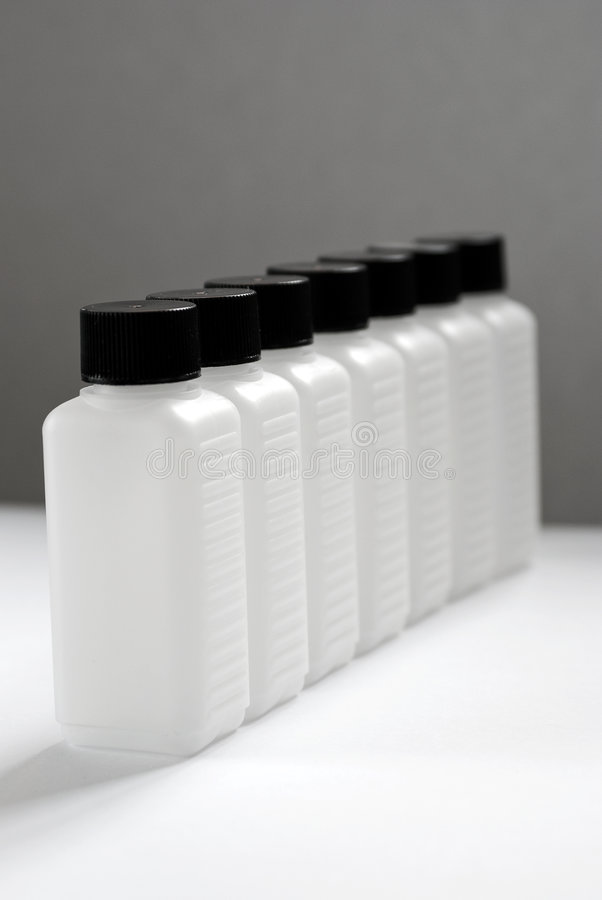 A row of Empty plastic bottles 1 stock image