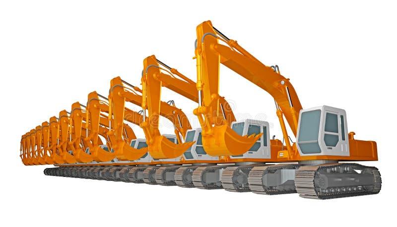 Row of excavators isolated on white 3d rendering. Row of excavators isolated on white. 3d rendering stock illustration