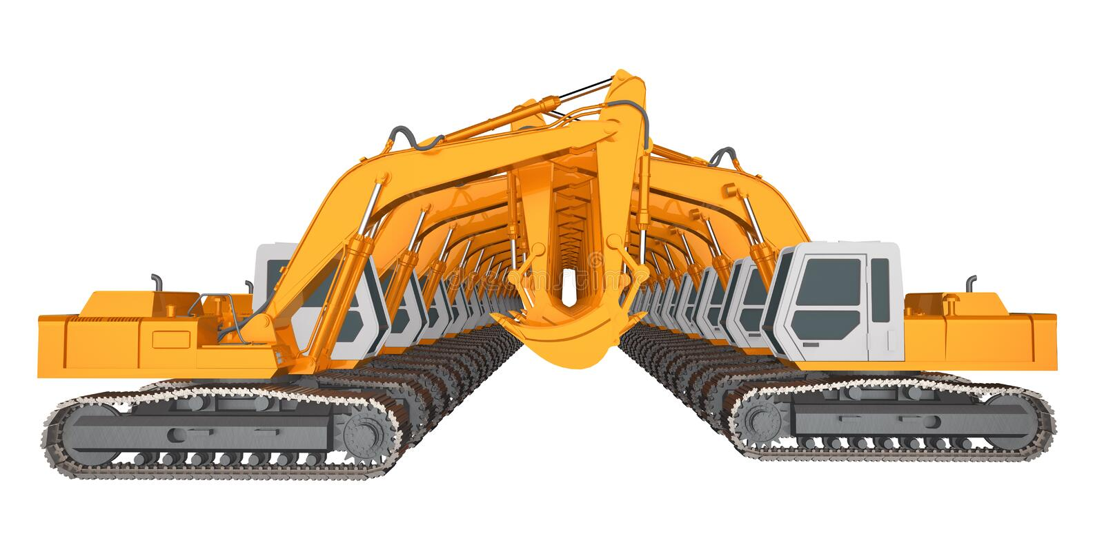Row of excavators isolated on white 3d rendering. Two Row of excavators isolated on white. 3d rendering royalty free illustration