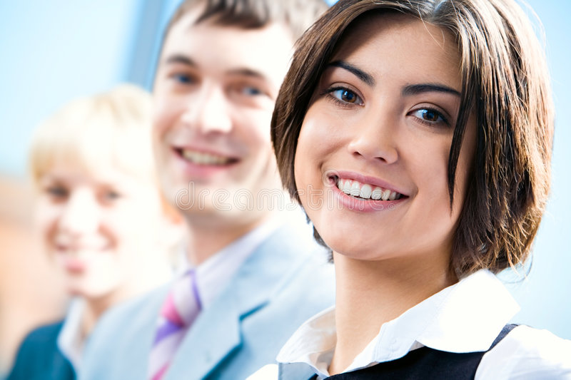 Row of faces stock photo