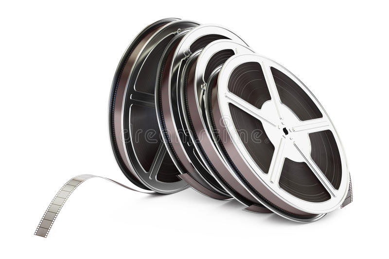 Row of film reels, 3D rendering. On white background vector illustration