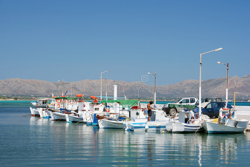 Row of Fishing Boats. A row of fishing boats in the port of Elafonisos island, Greece royalty free stock photos