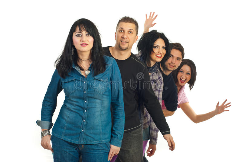 Row Of Five Friends Stock Image