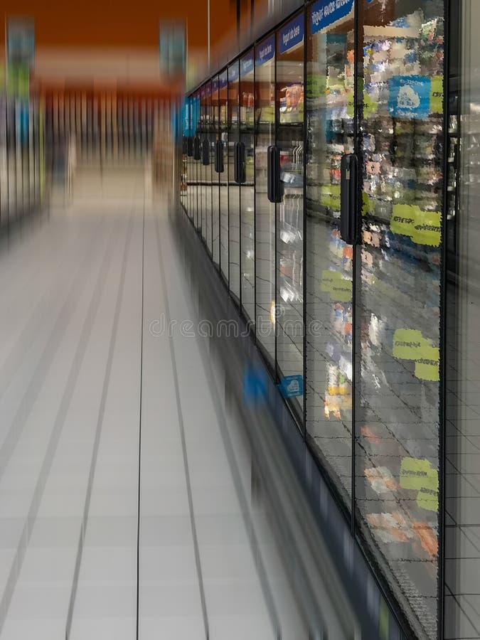 Supermarket freezer. Row of freezers at the supermarket royalty free stock image