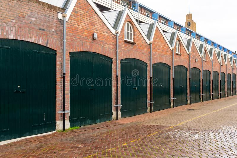A row of garages for rent in Eindhoven, Netherlands. Buildings royalty free stock photo