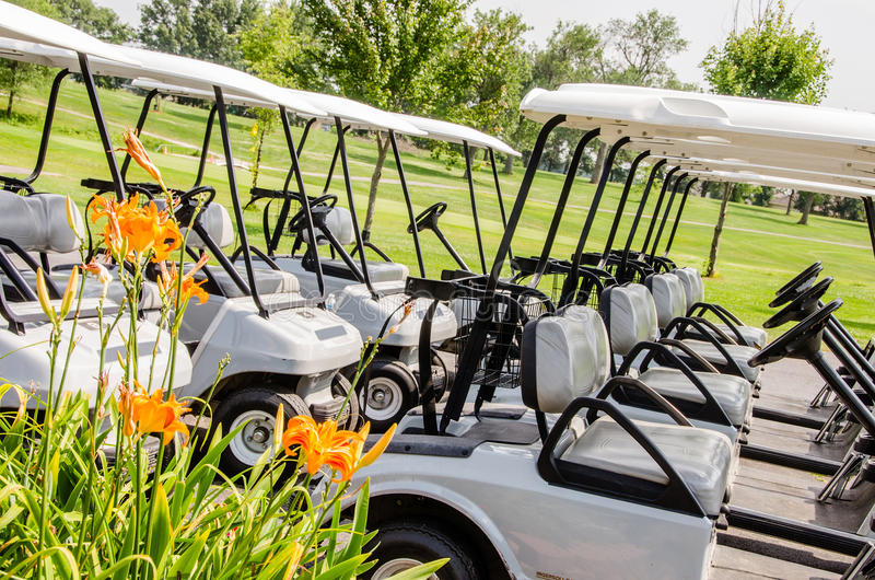 Row of Golf carts stock photography