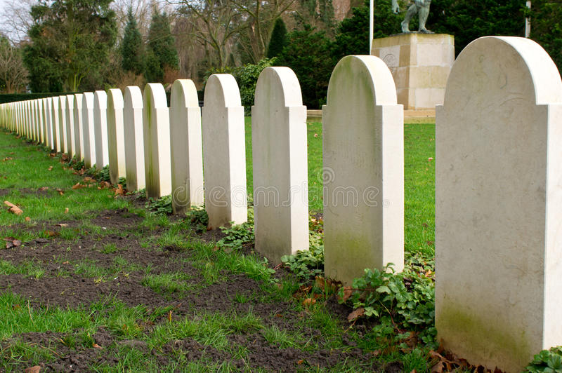 Row of graves stock images