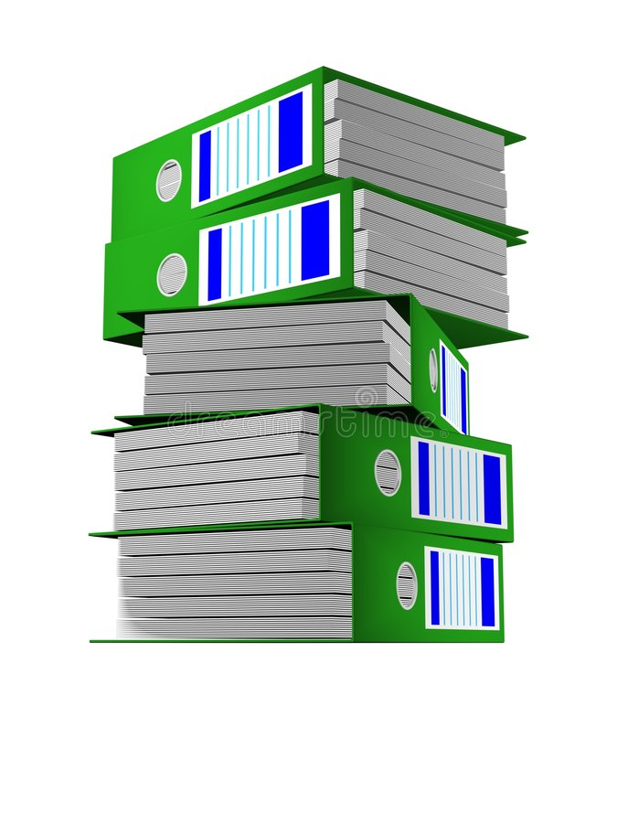 Row of green folders with documents vector illustration