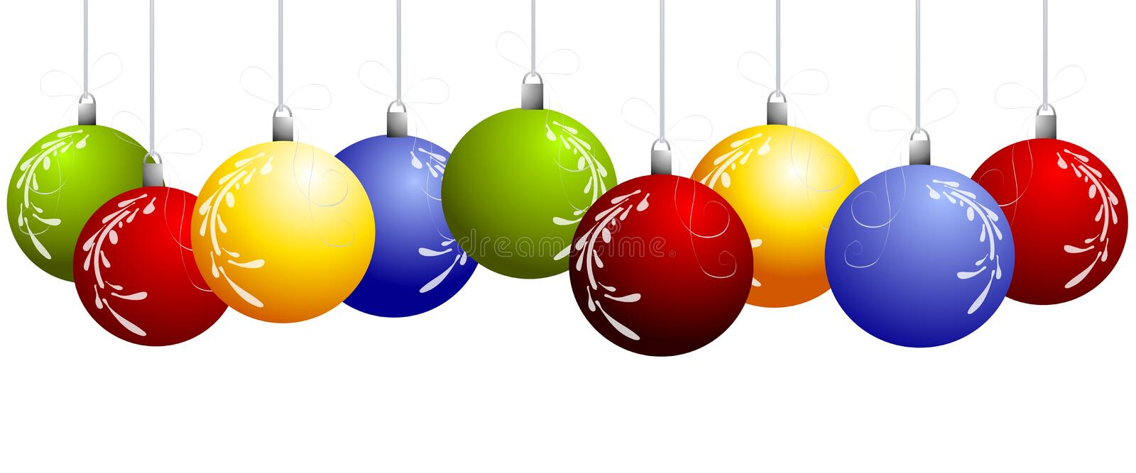 Row of Hanging Christmas Ornaments Border stock illustration