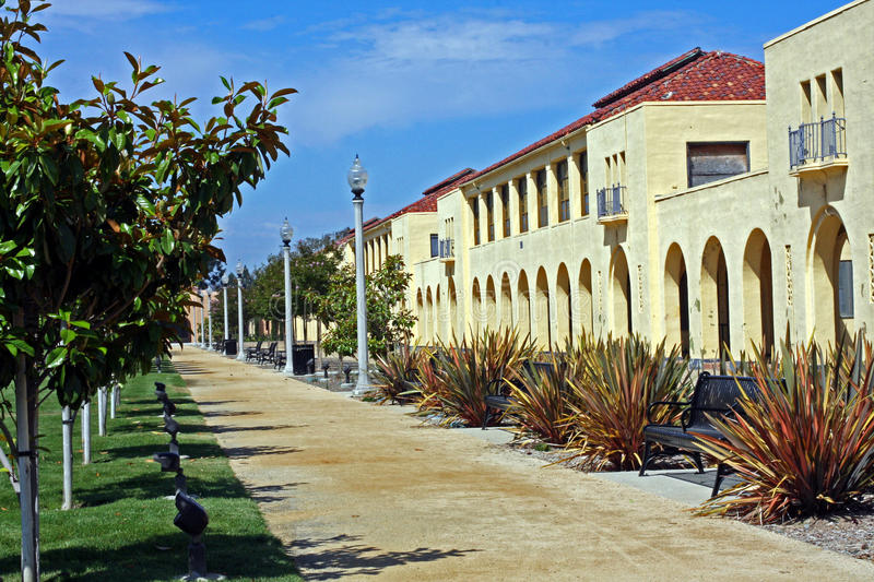 Row of historic naval barracks. Row of historic (1923) navy barracks at the old Naval Training Center in San Diego, now part of Liberty Station. The Spanish royalty free stock image