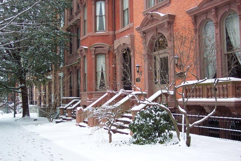 Row Homes in January stock photos
