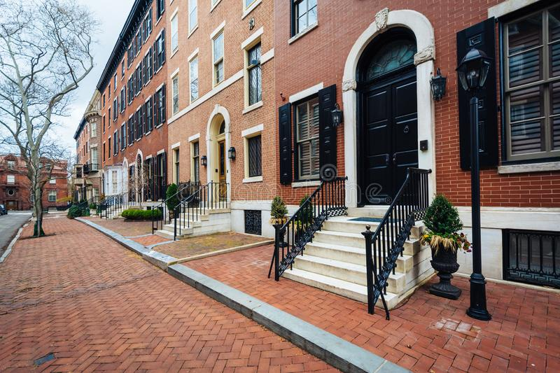 Row houses along Delancey Place, near Rittenhouse Square, in Philadelphia, Pennsylvania.  royalty free stock image