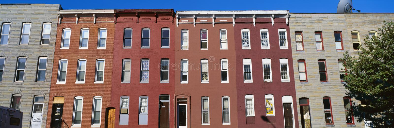 row houses in Baltimore stock photos
