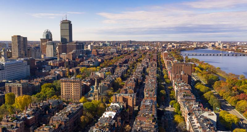 Fall Color Autumn Season South Boston Massachusetts Aerial View. Row houses and buildings all in a row beside the river looking south from Boston Downtown royalty free stock images