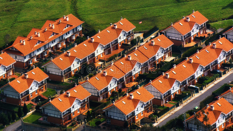 Row houses. From high angle view stock photo