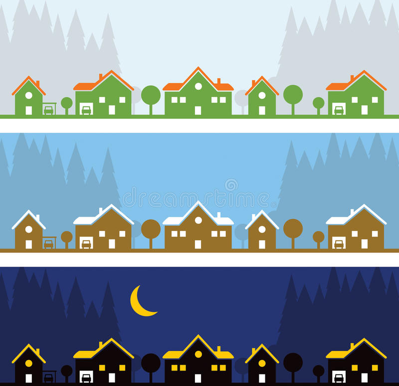 Row of Houses. A row of homes and houses lines a street in the neighbourhood vector illustration