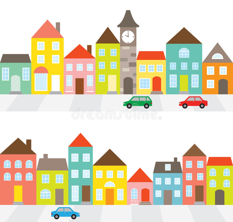 Row of Houses. Illustration of a town scene with row of houses along the street and cars